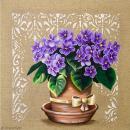 Image 3D Fleur - Bouquet de violettes - 30 x 30 cm - Photo n°1