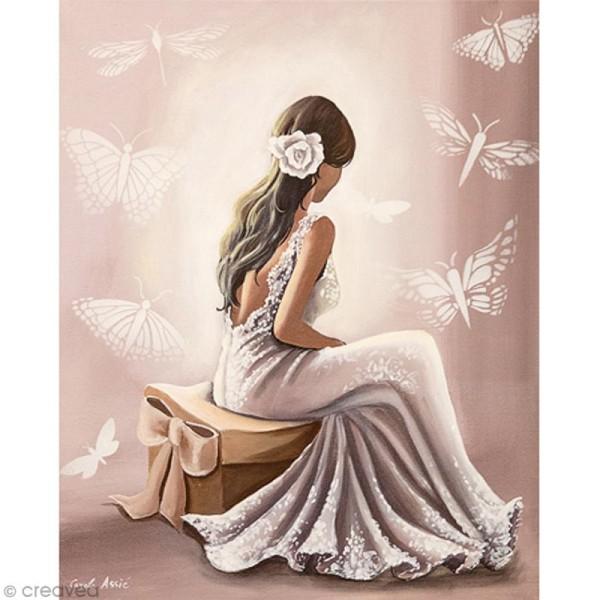 Image 3D Femme - Robe blanche - 24 x 30 cm - Photo n°1