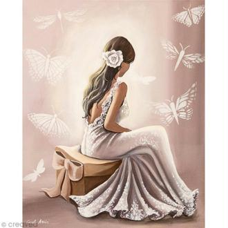 Image 3D Femme - Robe blanche - 24 x 30 cm