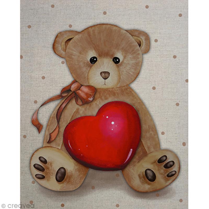 Image 3D Animaux - Ours avec coeur - 24 x 30 cm - Photo n°1