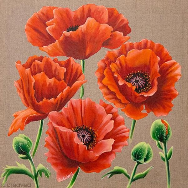 Image 3D Fleur - Coquelicots - 30 x 30 cm - Photo n°1