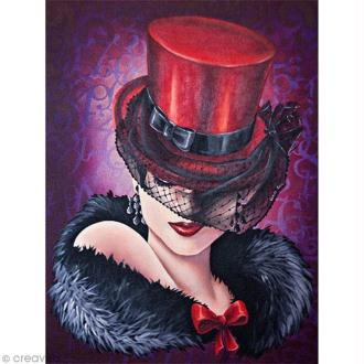 Image 3D Femme - Femme au chapeau rouge - 30 x 40 cm