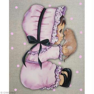 Image 3D Animaux - Chaton et petite fille - 24 x 30 cm