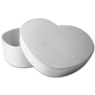 Boîte coeur blanche en papier mâché 11 cm