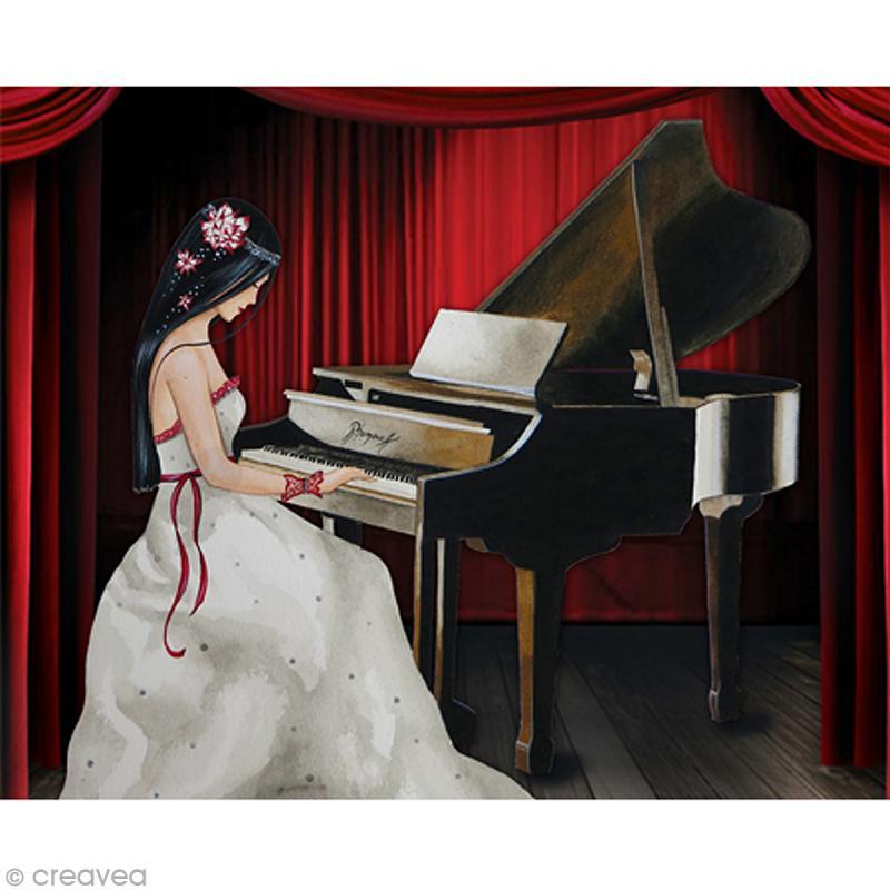Image 3D Femme - Pianiste - 24 x 30 cm - Photo n°1