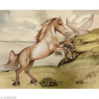 Image 3D Animaux - Cheval blanc et aigle - 24 x 30 cm
