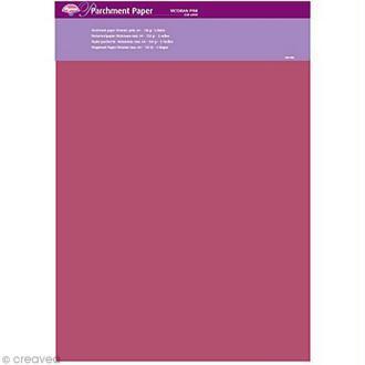 Papier parchemin Pergamano - Victorien rose - 5 feuilles calque (62909)