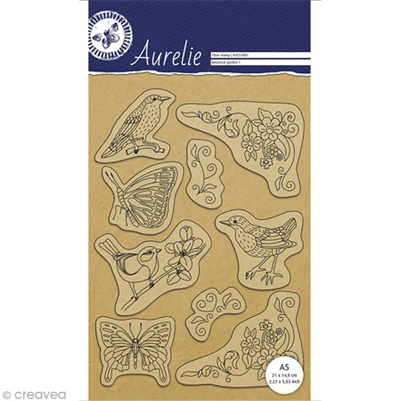 Tampon clear stamps pergamano jardin botanique 1 9 pcs for Camping le jardin botanique limeray
