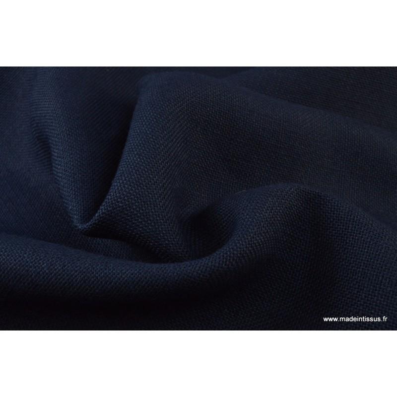 tissu toile de jute bleu marine tissu uni creavea. Black Bedroom Furniture Sets. Home Design Ideas