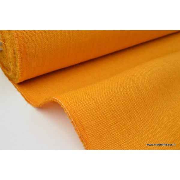 tissu toile de jute moutarde x1m tissu uni creavea. Black Bedroom Furniture Sets. Home Design Ideas