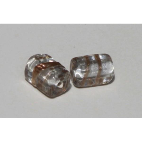 Deux Perles en verre rectangulaire translucide, 18 mm - Photo n°2