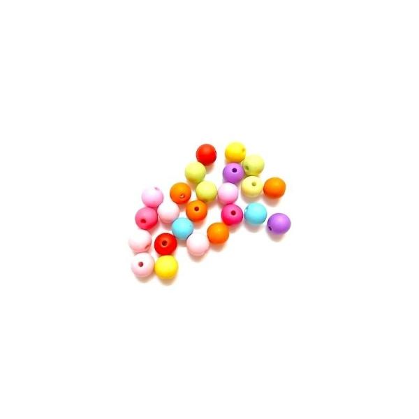 100 Perles Bubblegum en Acrylique Opaque Rond Couleur au Hasard 10mm Dia - Photo n°1