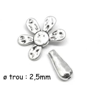 Perle Fleur Avec Tige En Métal Argenté 27mm
