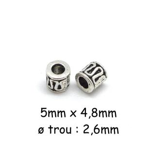 20 Perles Tube En Métal Argenté Style Ethnique 5mm
