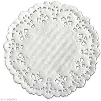 Napperon en papier dentelle - Rond 8,9 cm - 12 pcs