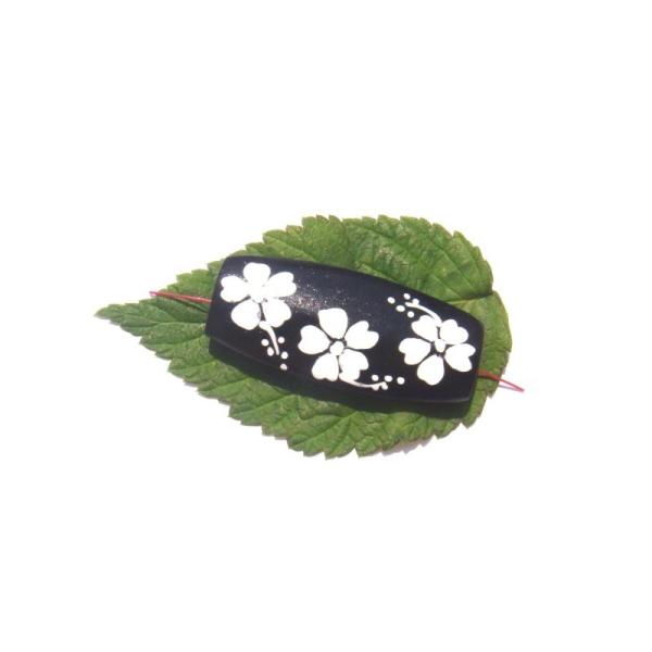Perle bois peint motif Fleurs 4 CM de longueur x 1,8 CM max - Photo n°2