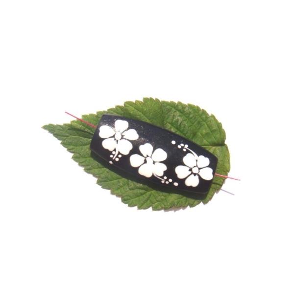 Perle bois peint motif Fleurs 4 CM de longueur x 1,8 CM max - Photo n°1