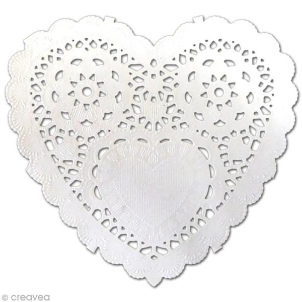 Napperon en papier dentelle - Coeur 12,7 cm - 12 pcs - Photo n°1