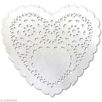 Napperon en papier dentelle - Coeur 12,7 cm - 12 pcs