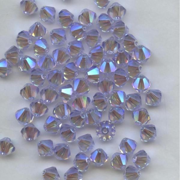 **50 perles toupies 3 mm AB2X SWAROVSKI PERIDOT AB2X