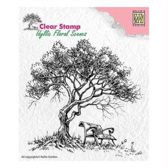 Tampon transparent clear stamp scrapbooking Nellie's Choice ARBRE BANC 007