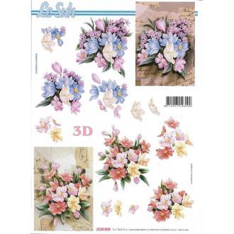 Feuille 3D à découper A4 Fleurs Bouquet