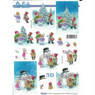 Feuille 3D à découper A4 Noël Enfants Neige