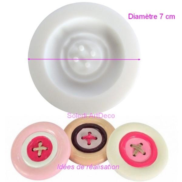 Moule 7cm en silicone Grand Bouton XXL de 5cm de diamètre extra flexible pour pâte fimo polymère - Photo n°1