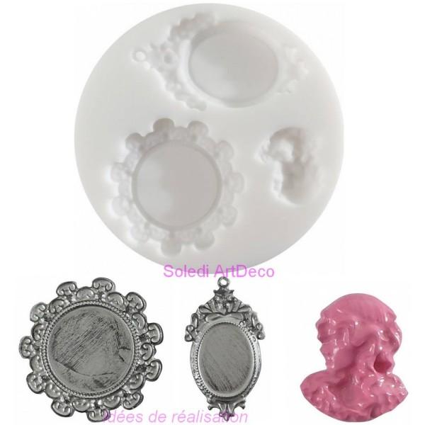 Moule en silicone, 2 Camées et visage, 7 cm, extra flexible pour pâte fimo polymère - Photo n°2