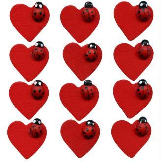 Lot 12 coccinelles sur coeur en bois peint