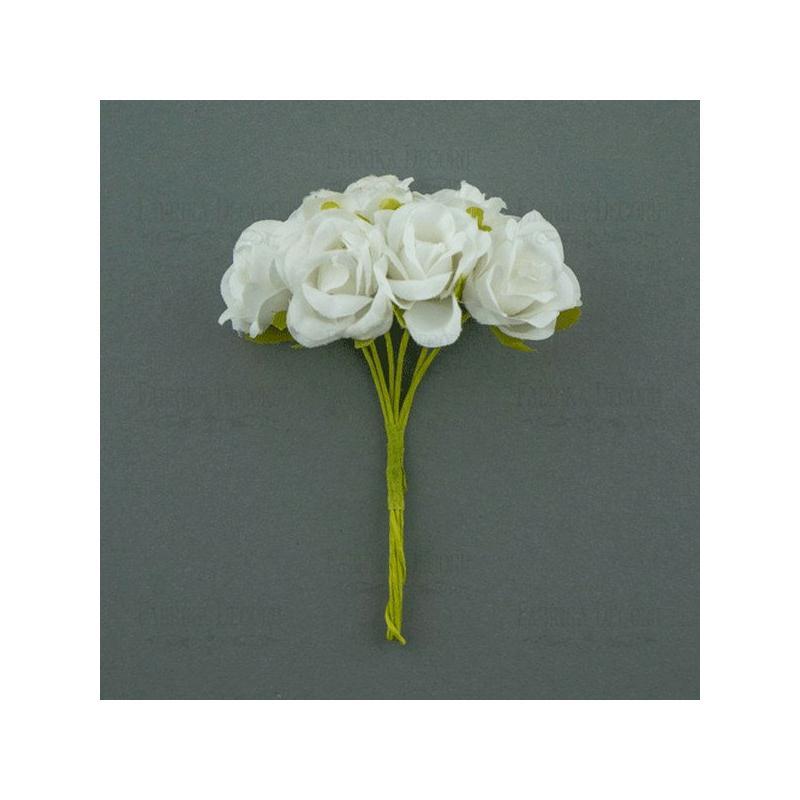 Bouquet de 6 fleurs rose en papier avec tige blanc - Rose avec tige ...