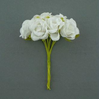 Bouquet de 6 Fleurs rose en papier avec tige BLANC