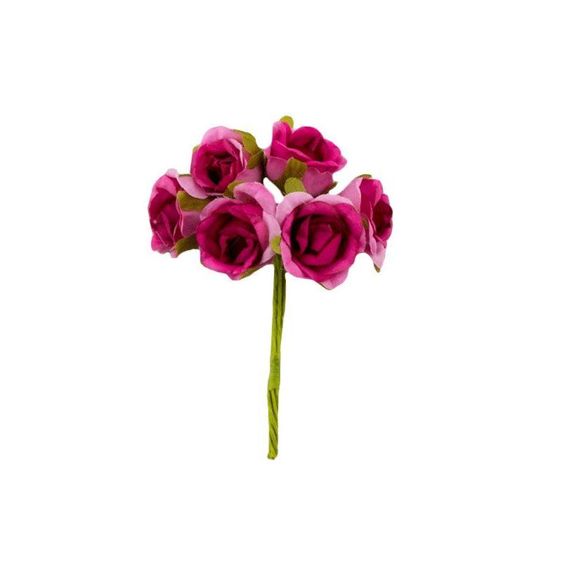 Bouquet de 6 fleurs rose en papier avec tige rose rouge - Rose avec tige ...