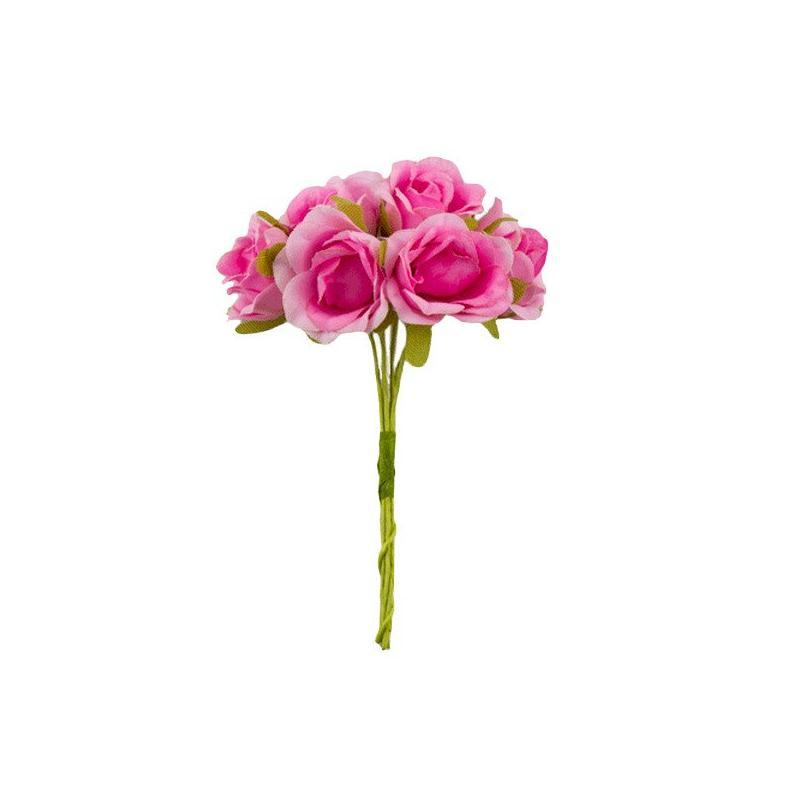 Bouquet de 6 fleurs rose en papier avec tige rose - Rose avec tige ...