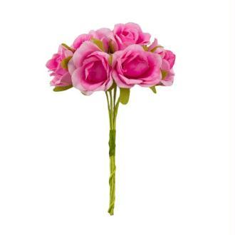 Bouquet de 6 Fleurs rose en papier avec tige ROSE
