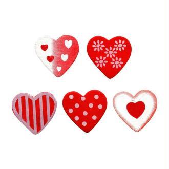 Lot 20 coeurs décorés en bois peint 2 cm