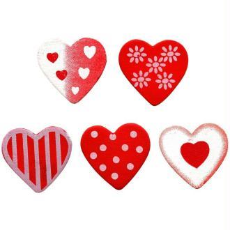 Lot 20 coeurs décorés en bois peint 3 cm