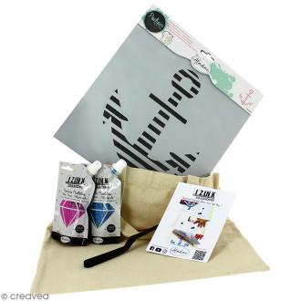 Kit tote bag à décorer Izink Diamond Aladine - Ancre marine - 6 pcs