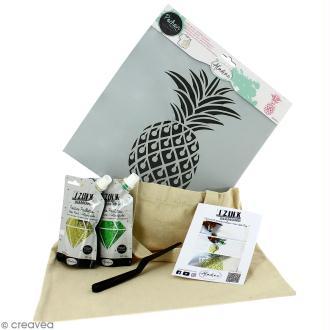 Kit tote bag à décorer Izink Diamond Aladine - Ananas - 6 pcs
