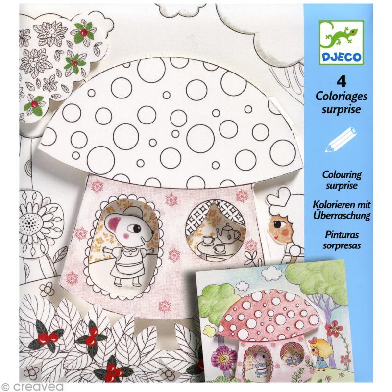 Djeco petits cadeaux coloriages surprises poucette - Djeco coloriage ...