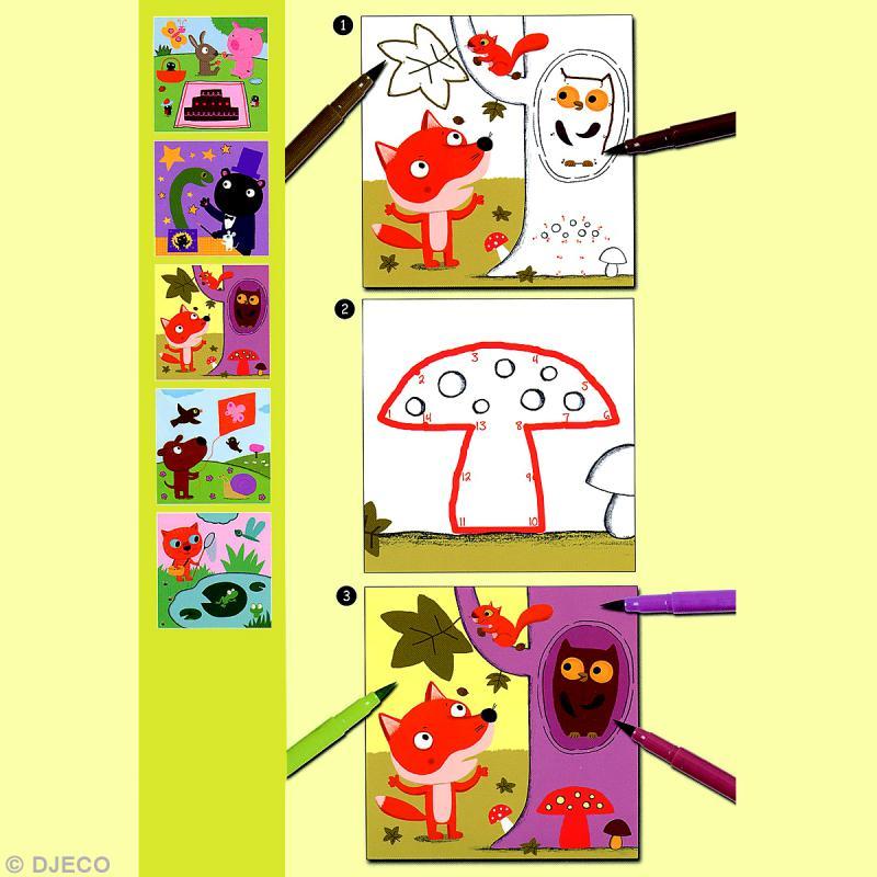 Djeco petits cadeaux coloriage point point coloriage - Djeco coloriage ...