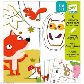 Djeco Petits cadeaux - Coloriage point à point - Coloriage Trop choux