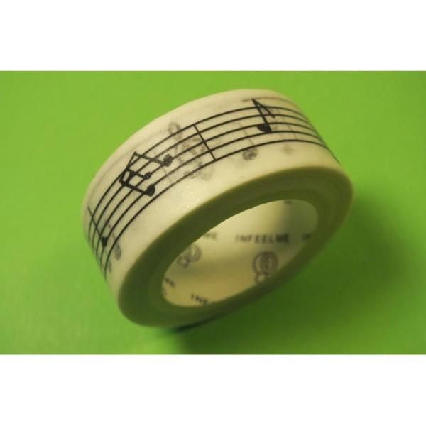 Ruban Washi 15 mm x 7 m motif portée musicale noir et blanc - Photo n°1