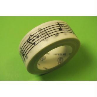 Ruban Washi 15 mm x 7 m motif portée musicale noir et blanc