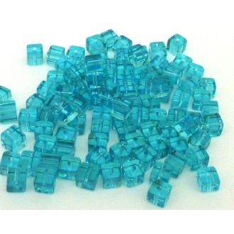 25 Perles Cube Angle Arrondi 4,5mm En Verre Transparent Bleu Turquoise