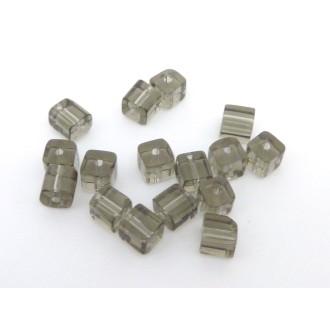 10 Perles Carré, Cube Angle Arrondi En Verre Gris Transparent 4,5mm