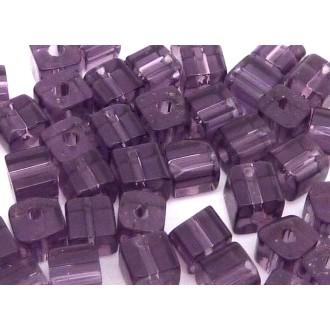 10 Perles Cube Angle Arrondi En Verre Transparent Violet 4,5mm