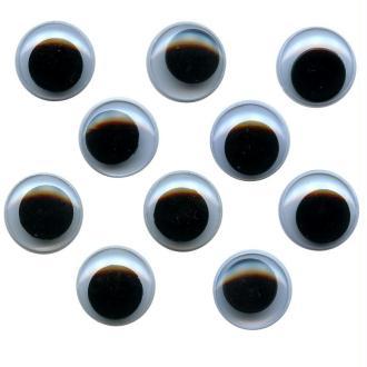 Yeux avec pupilles mobiles en plastique 1,5 cm x 10