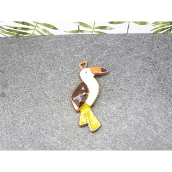 1 pendentif Toucan - 33*14mm -  doré, émail jaune, orange, blanc - Photo n°1