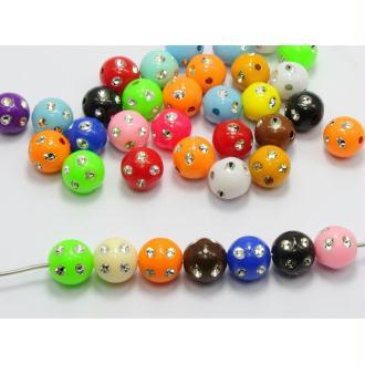 20 Perles Mix Point Argentées 10mm couleur Mixte, Creation bijoux, Bracelet, Collier